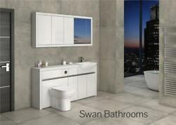 White / White Gloss Bathroom Fitted Furniture With Wall Units 1700mm