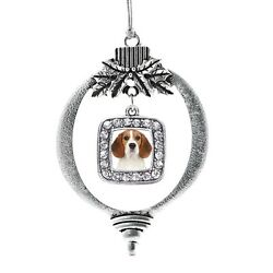 Inspired Silver  Beagle Face Classic Holiday Christmas Tree Ornament