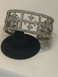 18K WHITE GOLD CUSTOM MADE LADIES DIAMOND CUFF BRACELET 8.34 TCW