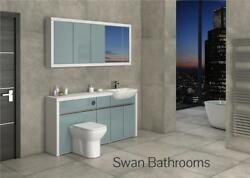 White / Metallic Blue Gloss Bathroom Fitted Furniture With Wall Units 1700mm