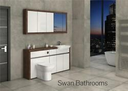 Olivewood / White Gloss Bathroom Fitted Furniture With Wall Units 1700mm