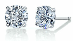 Engagement 2.00 Ct D Si2 Round Diamond Earrings 4 Prong 14 K White Gold