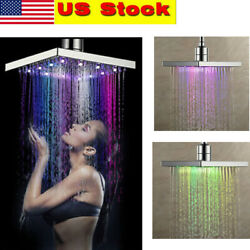 Colorful Led Square 8 Inch Rainfall Shower Head Sprayer 7 Colors Changing Us New