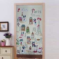 Home Noren Japanese Room Door Window Curtain Cute Dog and Eiffel Tower Pattern