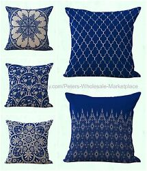 set of 5 couch pillows cushion covers blue Chinese porcelain geometric