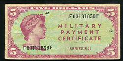 Series 541 5 Five Dollars Mpc Military Payment Certificate Very Fine Rare