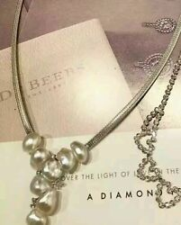 Genuine Saltwater Pearl W 18k White Gold And Fine Duamond Necklace