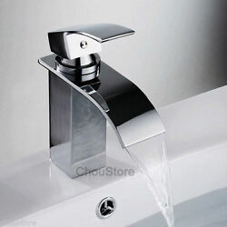 Chrome Deck Mount Brass Bathroom Waterfall Basin Faucet Square Vanity Mixer Tap