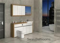 Oak / White Gloss Bathroom Fitted Furniture With Wall Units 1700mm