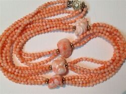 Antique carved Coral beads Chinese calendar angel skin necklace 76 gram (m964)