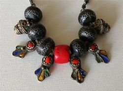 Antique Moroccan Huge Natural Color Coral Bead Enameled Silver Necklace M1036