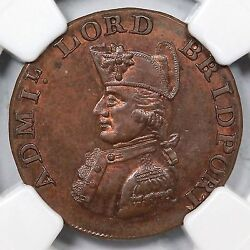 1790and039s Dandh-97 Ngc Ms 65 Rb Hampshire - South Hampton Conder Token 1/4p