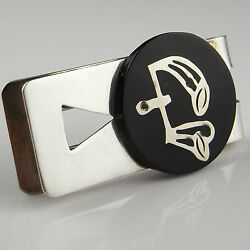 Ebony Unique One Of A Kind Vintage Sterling Silver Inlaid Money Clip Inlay 925