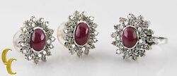 14k White Gold Diamond And Ruby Cabochon Ring And Earring Set Size 6.75 Gift