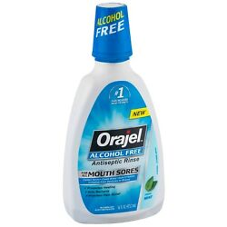 Orajel Alcohol-Free Antiseptic Mouth Sore Rinse, Fresh Mint 16 oz (Pack of 8)