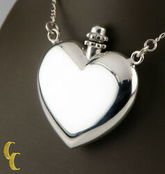 Sterling Silver Heart-shaped Perfume Bottle Pendant W/ Funnel And 27 Figaro Chain