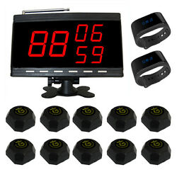Singcall Wireless Calling Pager Systems 1 Display Screen, 2 Watches,10 Pagers