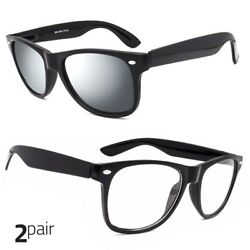 2 Pair Men Women Sunglasses Style Black Frame Mirror Clear Lens $7.69