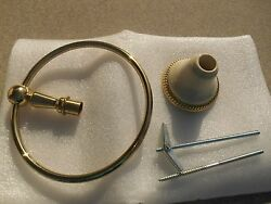 Nos Harden Solid Brass And Almond Porcelain Towel Ring