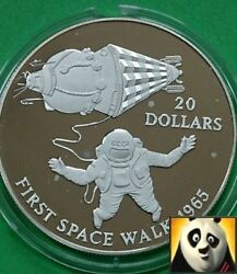 1993 Kiribati 20 Dollars First Space Walk Space Exploration Silver Proof Coin