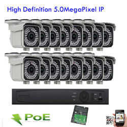 16ch Network 5mp Nvr Sony Cmos 2592x1920p Ip Poe Onvif Ip66 Wdr Camera Security