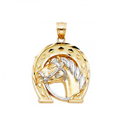 14k Solid Yellow White Gold Horse Head Horseshoe Pendant - Good Luck Lucky Charm