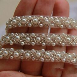 1 Yard Pearl Beaded Trim Wedding Bridal Pearl Applique for DIY Wedding Sash