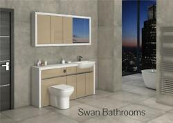 White / Cappuccino Gloss Bathroom Fitted Furniture With Wall Units 1700mm