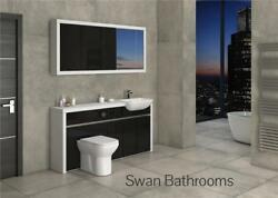 White / Black Gloss Bathroom Fitted Furniture With Wall Units 1700mm