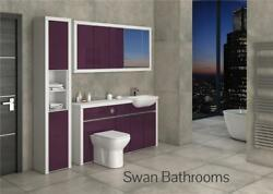 White / Aubergine Gloss Bathroom Fitted Furniture With Wall Units 2000mm