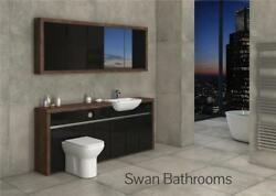 Olivewood / Black Gloss Bathroom Fitted Furniture With Wall Units 2000mm