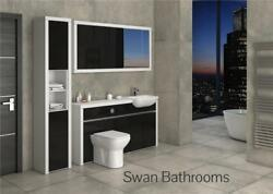 White / Black Gloss Bathroom Fitted Furniture With Wall Units 2000mm