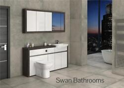 Mali Wenge / White Gloss Bathroom Fitted Furniture With Wall Units 1700mm