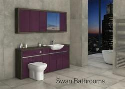 Mali Wenge / Aubergine Gloss Bathroom Fitted Furniture With Wall Units 2000mm