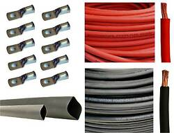 4/0 Gauge 4/0 Awg Red Or And Black Welding Battery Cable + Cable Lugs Heat Shrink