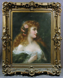 French 20th Century Oil Painting J. Colinet Portrait of Beautiful Woman in Dress
