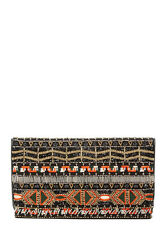 Alice + Olivia Beaded Embroidered Leather Foldover Clutch coral-moss *NEW*