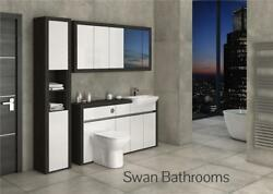 Hacienda / White Gloss Bathroom Fitted Furniture With Wall Units 2000mm