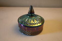 Indiana Glass Blue Carnival Glass Candy Dish W/ Lid