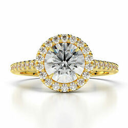 Ds-r-56-179 W Accents 1.10 Ct F Vs1 Halo Round Diamond Ring 14 K Yellow Gold
