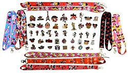 Minnie Mouse Themed Lanyard and 5 Pin Set Walt Disney World Trading ~ Brand NEW