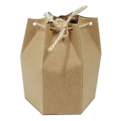 Brown Kraft Paper Hexagonal Box For Wedding Favor Party Gift Packaging Boxes