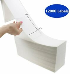 12000 Fanfold 4 X 6 Direct Thermal Shipping Barcode Labels - Zebra Usps Fedex