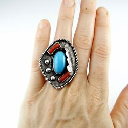 Navajo Statement Ring Old Pawn Turquoise Artisan Native American Sterling Silver