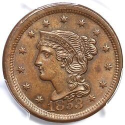 1853 N-19 Pcgs Ms 65 Bn Tcc4 Mds Braided Hair Large Cent Coin 1c Ex Twin Leaf