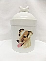 Jack Russell Terrier Wirehair Dog Porcelain Treat Jar Fired Decal on Front 8in T
