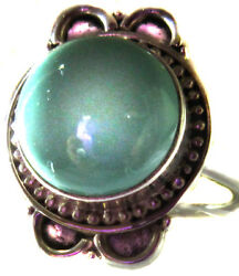 Ring Genuine Turquoise .925 Sterling Silver Antiqued Quality Size 7.5 Unisex