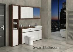 Olivewood / White Gloss Bathroom Fitted Furniture With Wall Units 2000mm