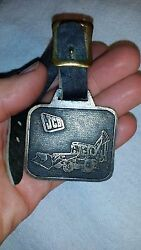 Jcb Heavy Equipment Backhoe Tractor Loader Watch Fob Brass And Leather Strap