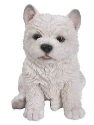 Sitting WEST HIGHLAND WHITE TERRIER Puppy Dog Life Like Home Figurine Statue